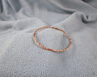 Multiple Wave Pattern Solid Copper Wire Bangle Bracelet with Random Hammered Texture