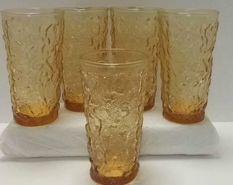 Set of 5 Amber Gold Ripple  Glass Tumblers