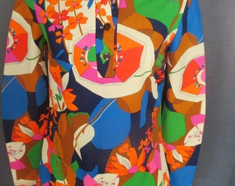 Vintage 60s Mod Floral Mini Shift Shirt Dress Psychedelic Multi Color Print GoGo Scooter