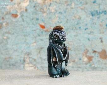 Little Rebel, young dragon figurine, punk dragon, fantasy creatures sculpture, ooak, totembykarhu