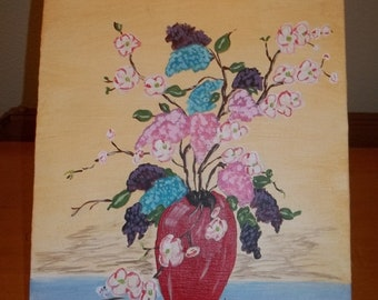 Lilacs and dogwood, acrylic painting, 8x10, flowers, still life, canvas panel, free shipping