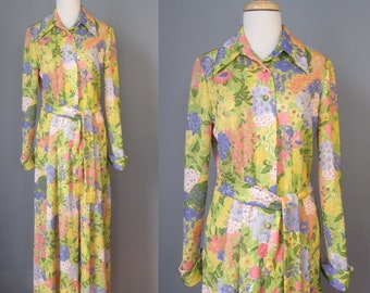 Print Knit Maxi Dress / Vtg 60s / Leslie Fay B Altmans Long sleeve Floral Print Maxi Dress / Hostess Gown
