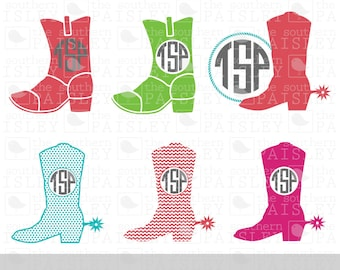Cowboy Boot Monogram Frames - .svg/.eps/.dxf/.ai for Silhouette Studio, Cricut, or other cutting software