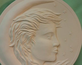 Girl in Moon Plaque