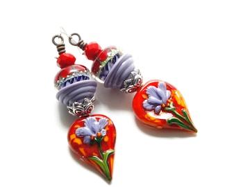 Flower Earrings - Lampwork Earrings - Colorful Earrings - Artisan Earrings - Bold Earrings - Purple Earrings - Red Earrings - Bright Bold