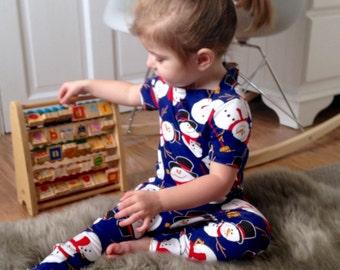 Baby harem romper / Snowman / Christmas toddler harem jumpsuit /  jersey jumpsuit / romper - skinny leg fit