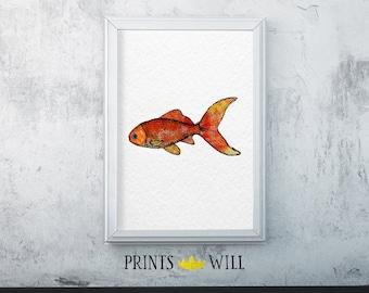 Orange Fish, Ocean Art, Watercolor Fish, Ocean Print, Ocean Decor, Printable Fish, Digital Print, Nursery Decor, Nursery Wall Art