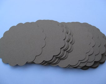 40 Scalloped Circles, 3 inch. CHOOSE YOUR COLORS. Wedding, Gift, Favor, Cupcake, Top Notes. Other colors and sizes available.