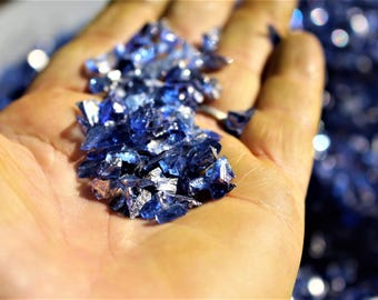 Crushed Blue Deco Glass-NEW colors-Vase fillers-1-4mm +/- pieces per 1 cup bag-Amethyst-Light green