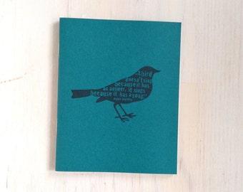 Medium Notebook: Bird, Maya Angelou, Teal, Cute Notebook, Stocking Stuffer, Christmas, Journal, Unlined, Unique, Gift, Notebook, GGG286