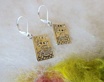Silver Cookbook Charm  Earrings Shiny Tiny Detailed Cookbook Chef Cook Baker Jewelry  Small Light Weight Earrings Fun Whimsical Jewelry