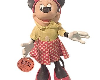 Minnie Mouse Doll ~ Vintage Walt Disney Toys ~ R Dakin Co. Hong Kong ~ Cartoon Character Collectible