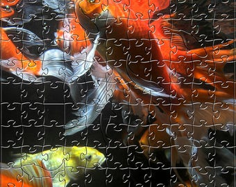 Koi 2 Zen Puzzle - Hand crafted, eco-friendly, American made artisanal wooden jigsaw puzzle