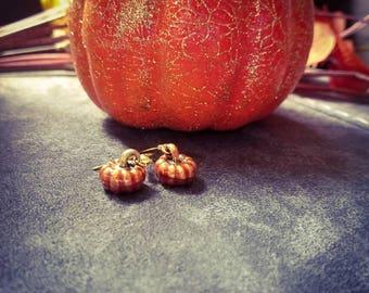 Hand painted pumpkin dangle earrings