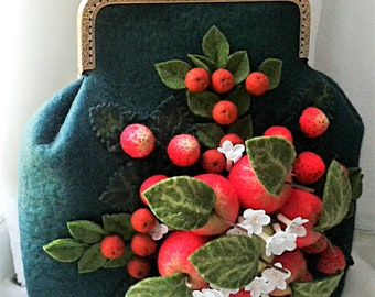 Women handbag with fruit bouquet Wool felted bag Handbag with apples and strawberries Berries accessories Hand bag with summer fruits decor