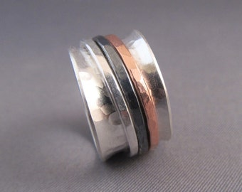 Spinner Ring in Sterling Silver, Three Spinners, copper and silver, personalized
