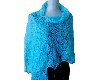 ON SALE Aqua blue knitted shawl Wedding wrap Mohair beaded lace shawl  Beautiful hand knit shawl Elegant modern scarf Mothers day gift
