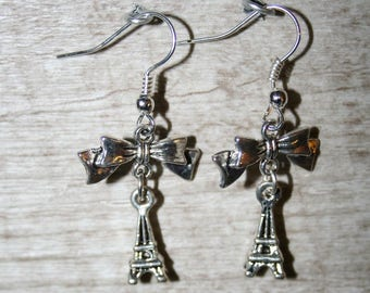 "Earrings""love Paris"" with silver metal beads"