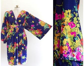 1970s empire waist dress with kimono sleeves