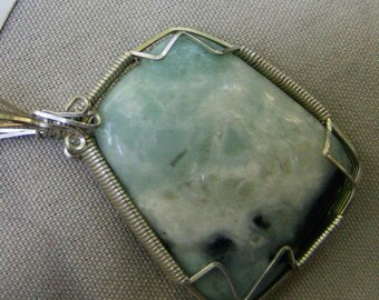 Amazonite Pendant -2 Sided Sterling Silver Wire Wrapped by JewelryArtistry -P505