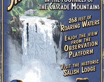Snoqualmie Falls, Washington - Vintage Sign (Art Prints available in multiple sizes)