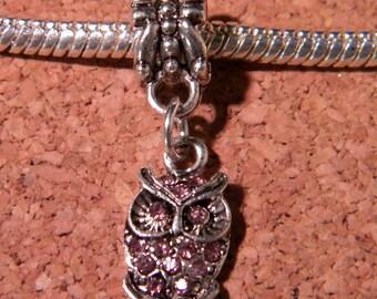 Pearl Libra pendant Shamballa European-pink OWL - 26 mm - D89