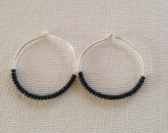 Black,beaded hoop earrings,large earrings,black jewelry,modern earrings,black earrings,seed beaded jewelry,hoop earrings,gift for her