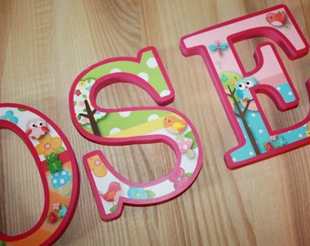 WOODEN WALL LETTERS Owls Love Birdies Girls Nature Forest Bedroom Baby Nursery Wall Name - Price Per Letter