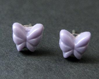 Mini Butterfly Earrings. Purple Earrings. Silver Post Earrings. Purple Butterfly Earrings. Stud Earrings. Handmade Jewelry.