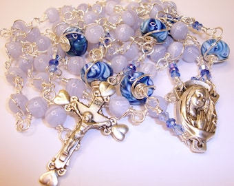 Catholic rosary, rosary, Mother Mary, blue lace agate, bookmark,wire wrapped, unbreakable,Abundant Grace,Indylin,silver wire wrapped, Angel