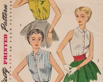 Vintage 50s Sewing Pattern / Simplicity 4238 / Blouse Shirt / Size 12 Bust 30