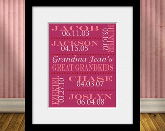 Great-Grandchildren Names and Birthdates, Great Grandparent Gift, Grandparents Gift, Great-Grandparent Christmas Gift, Special Occasion Gift
