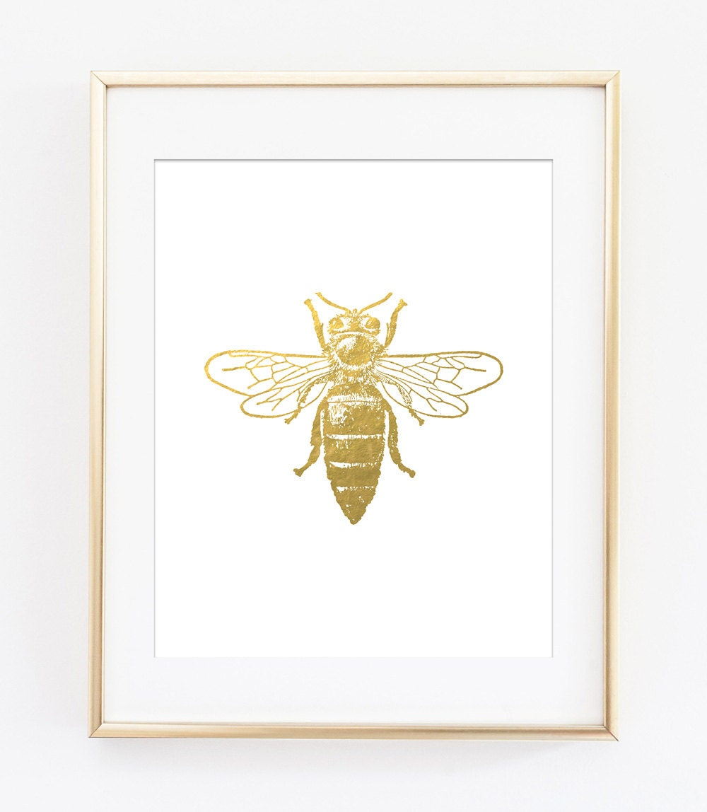 Bee Printables Bee Print Gold Bee Printable Gold Bee Gold