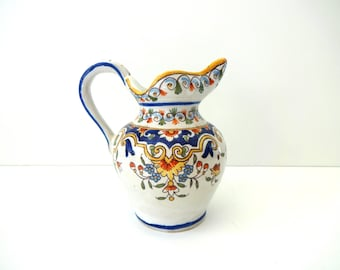Antique Vintage French Country Rouen Faience Pottery Desvres Pitcher with Crest