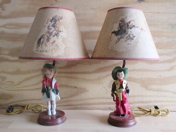 Vintage 1940s Western Cowboy Table Lamps With Celluloid Dolls