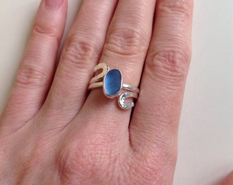 Handmade English sea glass and sterling silver ring - UK N US 7