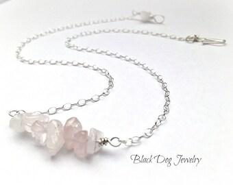 Sterling Silver Rose Quartz Gemstone Bar Necklace -  Reiki and Yoga Jewelry - Minimalist Wire Wrap Pendant