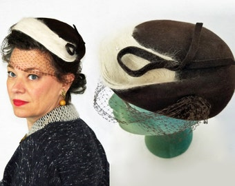 1940s Hat / 40s Hat / 1950s Hat / 50s Hat / Brown Felt Hat / Angora Rhinestones Netting Wool Hat / Veiled Hat / Brown Hat / Hat with Veil