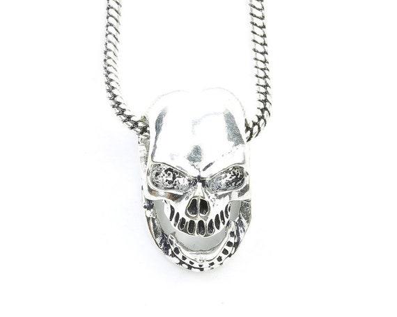 Skull Necklace, Bones, Skeleton Necklace, Biker Jewelry, Motorcycle, Festival Jewelry