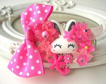 Hair Clip kawaii fairy kei lolita accessory white bunny rabbit kanzashi PINK