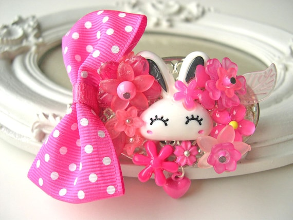 Hair Clip kawaii fairy kei lolita accessory white bunny rabbit kanzashi PINK