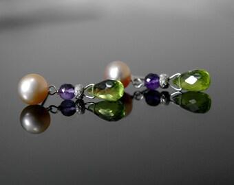 Peridot Briolett Purple amethyst Freshwater pearl earrings peridot Purple amethyst pearl stud earrings