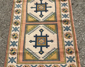"60""x 40"" small melas rug , vintage rug , turkish rug, free shipping , decorative rug"