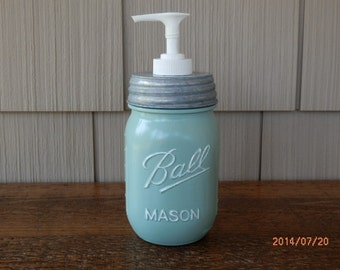 Farmhouse soap dispenser- shabby chic/pastel painted pint mason jars with choice of jar color. see description