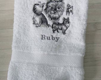 Personalised Yorkshire Terrier Dog Hand or Bath Towel Embroidered Gift present