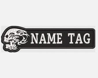 "Custom Embroidered 5"" x 1.4"" Flame Skull Name Tag Biker patch"
