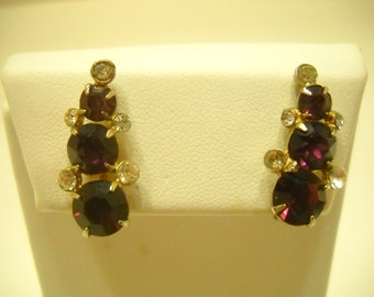 Vintage Coro Amethyst Screw Back Earrings (5855)