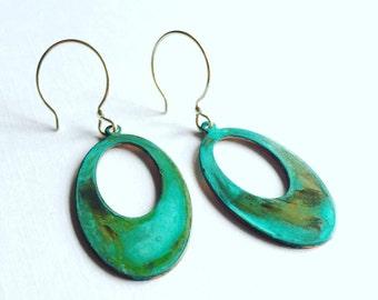 Open Oval Verdigris Earrings
