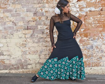 JESSICA Flamenco Skirt in black with green and white spotted frills