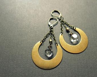 Raw Crystal Earrings - Herkimer Earrings - Raw Quartz Earrings - Raw Stone Earrings - Herkimer Diamond Earrings - Boho Herkimer Jewelry